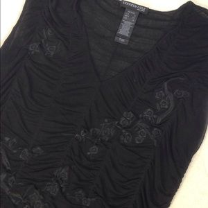 Kenneth Cole Ruched Embroidered Sheer Layer Top PS